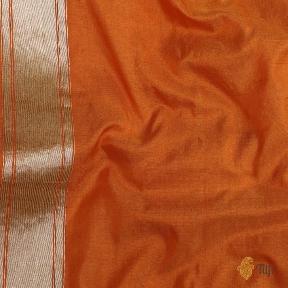 Yellow-Orange Pure Katan Silk Banarasi Handloom Saree