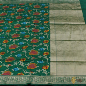 Emerald Green Pure Katan Silk Banarasi Handloom Saree