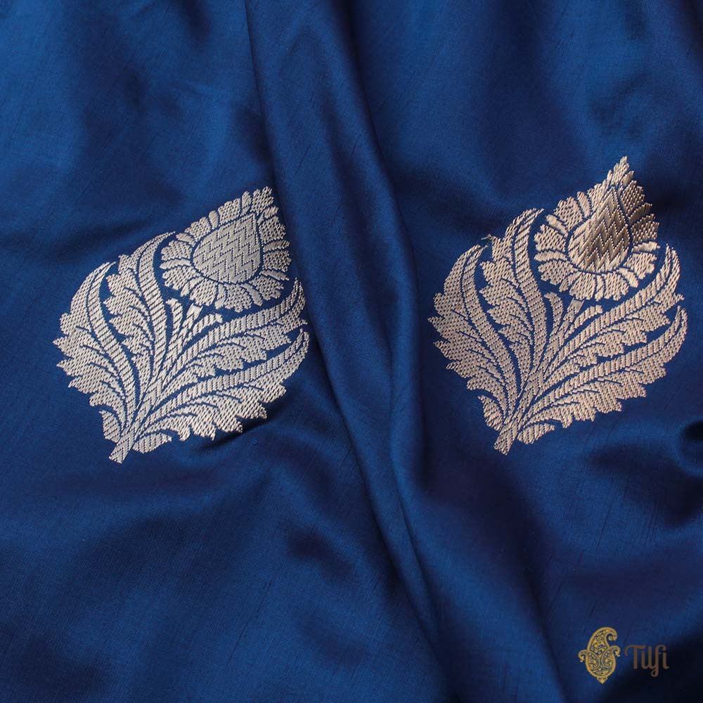 Midnight Blue Pure Katan Silk Banarasi Handloom Saree