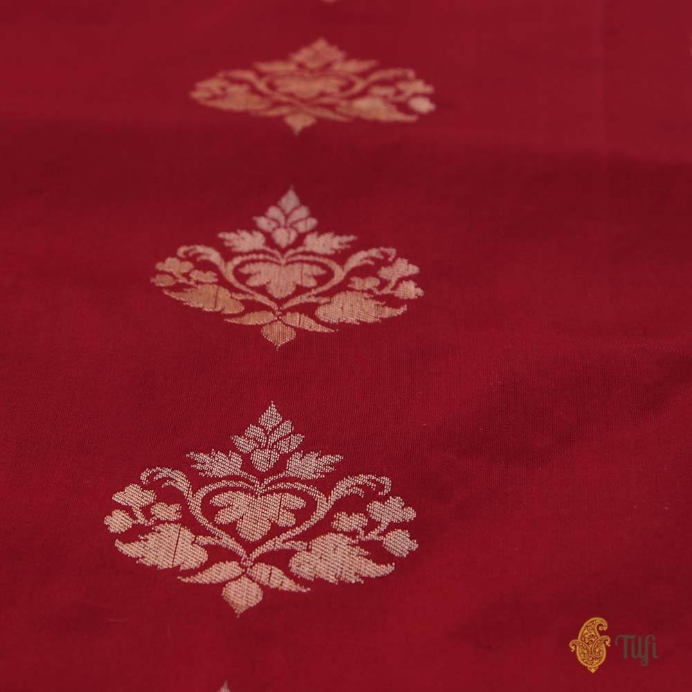 Red-Off White Pure Katan Silk Banarasi Kadiyal Handloom Saree