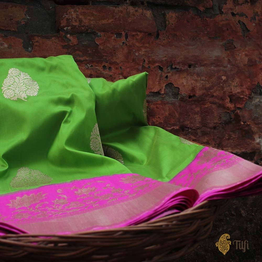 Green-Pink Pure Katan Silk Banarasi Kadiyal Handloom Saree