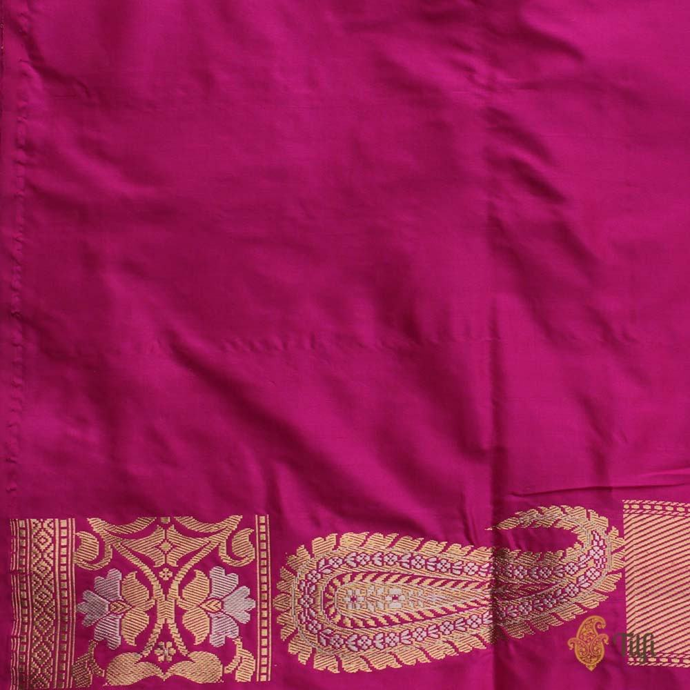 Black-Pink Pure Katan Silk Banarasi Handloom Saree