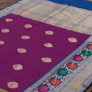 Purple-Blue Pure Katan Silk Banarasi Handloom Saree