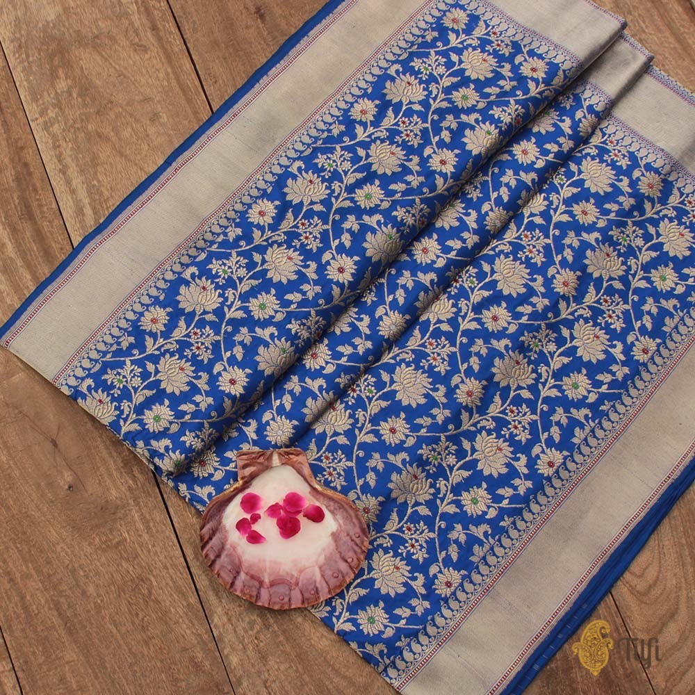 Royal Blue Pure Katan Silk Banarasi Handloom Saree