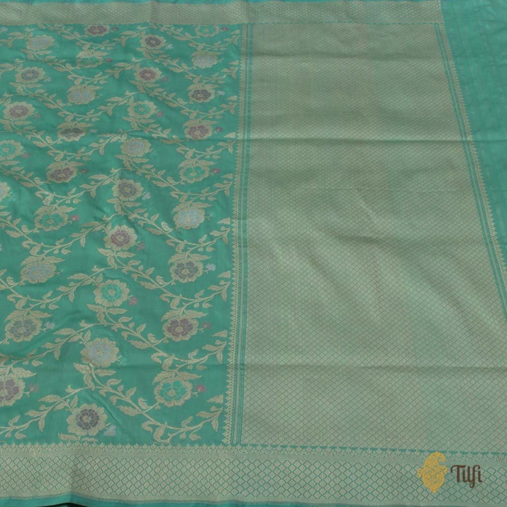 Sea Green Pure Katan Silk Banarasi Handloom Saree