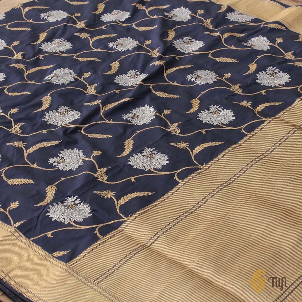 Navy Blue Pure Katan Silk Banarasi Handloom Saree