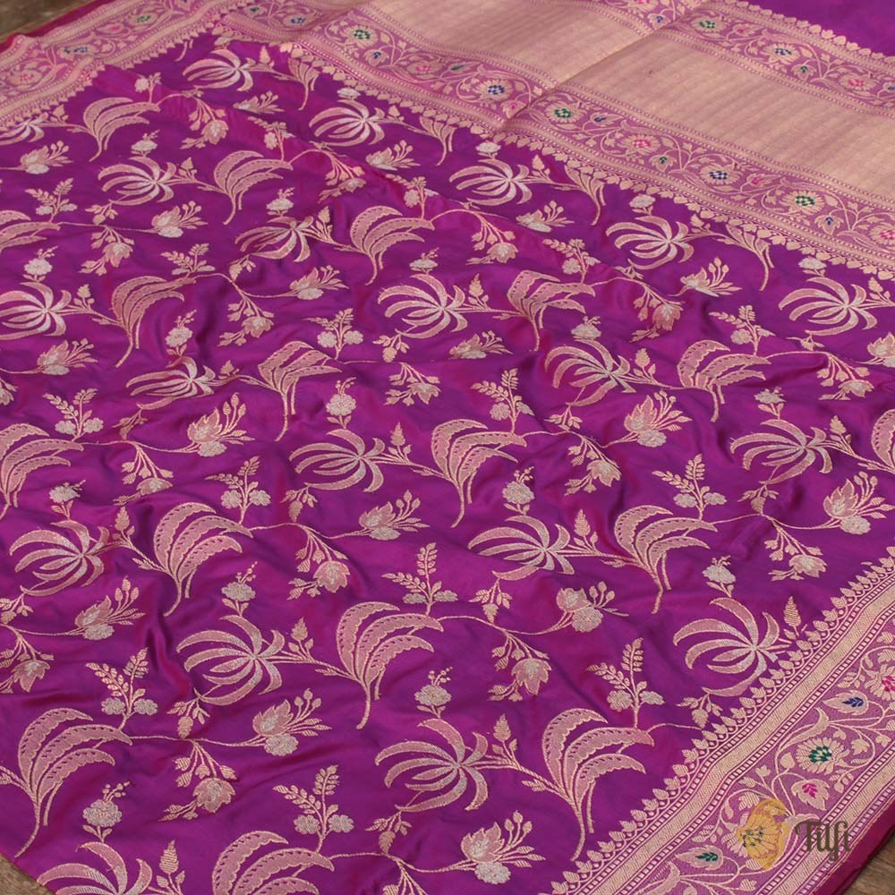 Magenta-Purple Pure Katan Silk Banarasi Handloom Saree