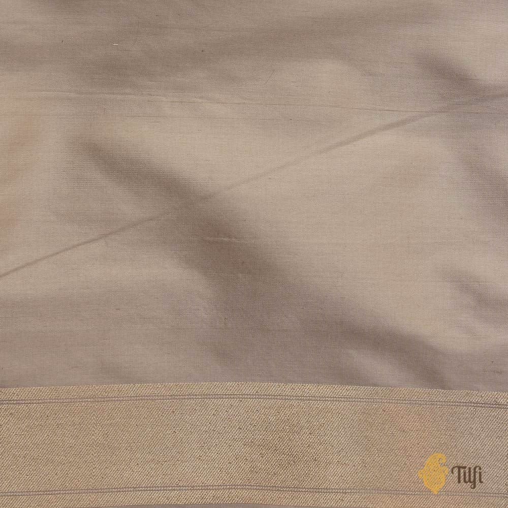 Off-White Pure Silk Georgette Banarasi Handloom Saree