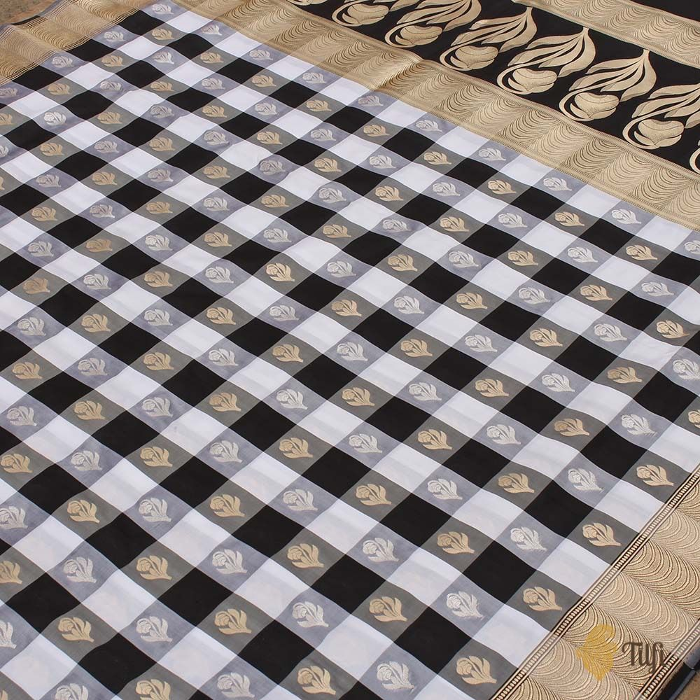 Black-White Checkered Pure Katan Silk Handloom Banarasi Saree