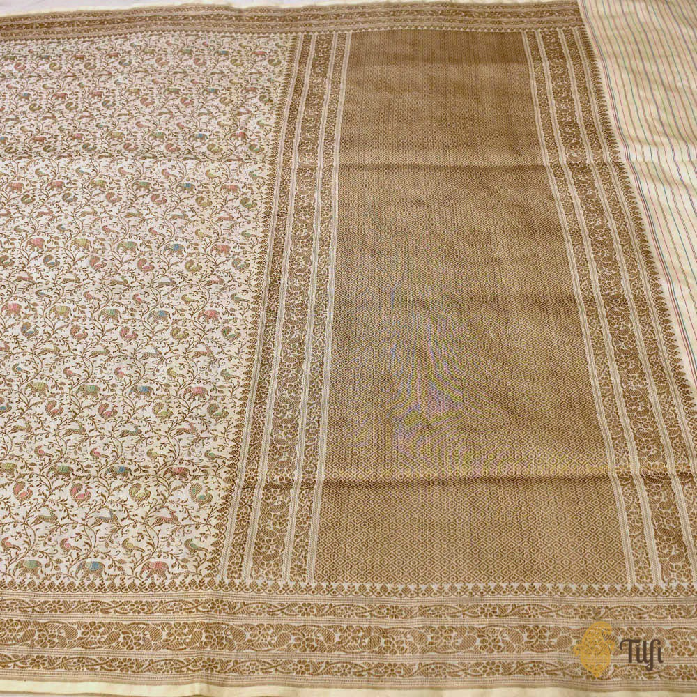 Off-White Pure Katan Silk Banarasi Shikaargah Handloom Saree