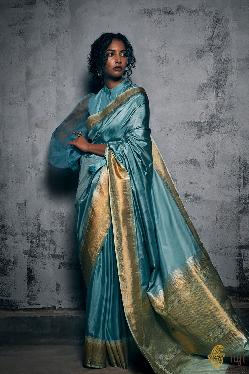 Pre-Order: Light Blue Pure Katan Silk Banarasi Handloom Saree