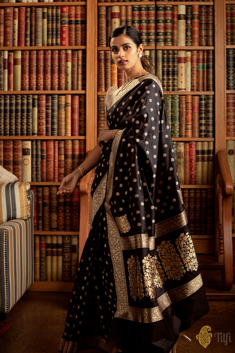 'Janaki' Black Pure Katan Silk Real Zari Banarasi Handloom Saree