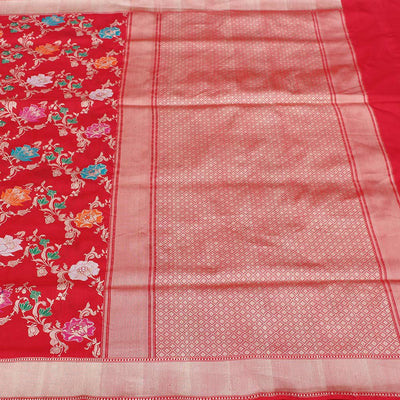 Red Pure Katan Silk Banarasi Handloom Saree