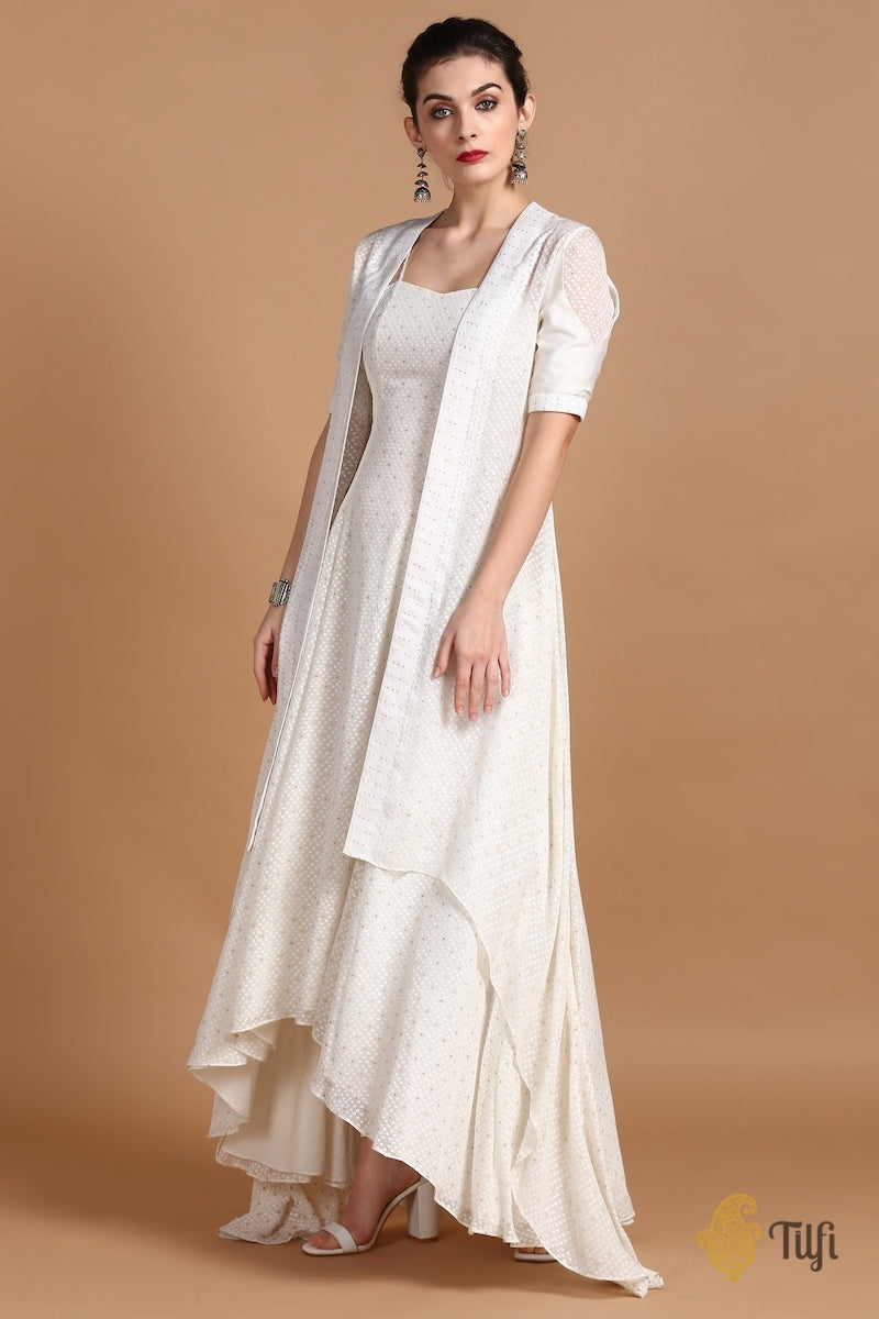 Off-White Pure Khaddi Georgette Handwoven Banarasi Flared Dress & Overlay