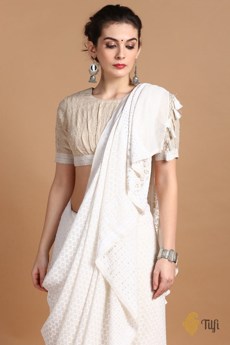 Off-White Pure Khaddi Georgette Handwoven Banarasi Saree