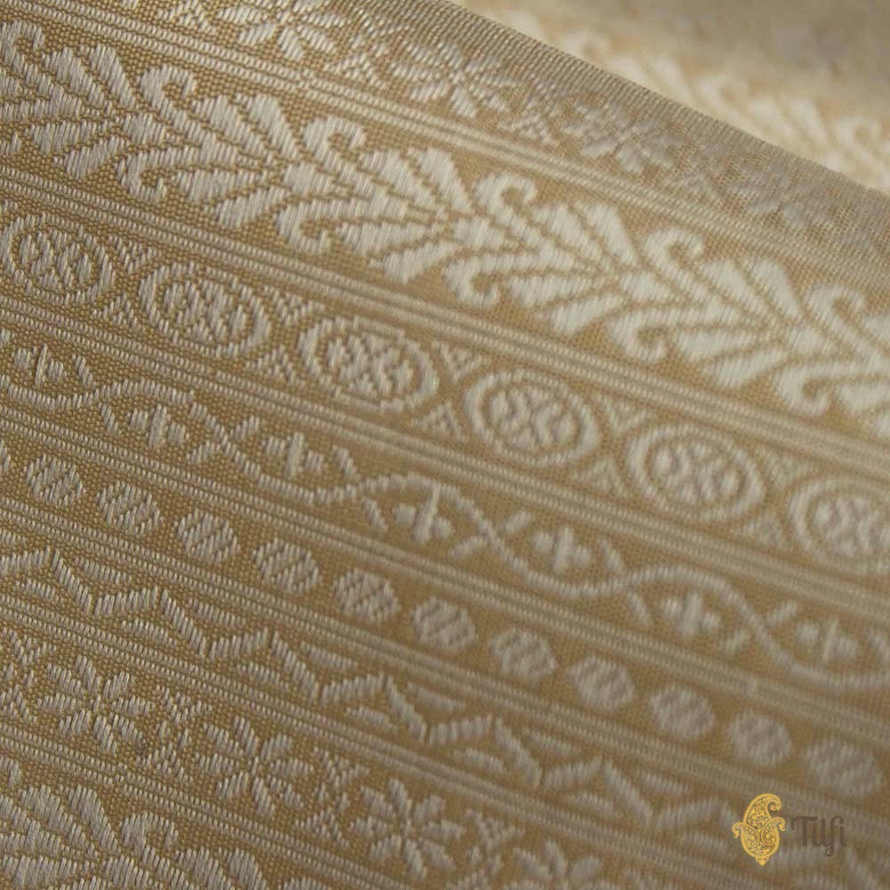 Cream Pure Katan Silk Banarasi Handloom Fabric