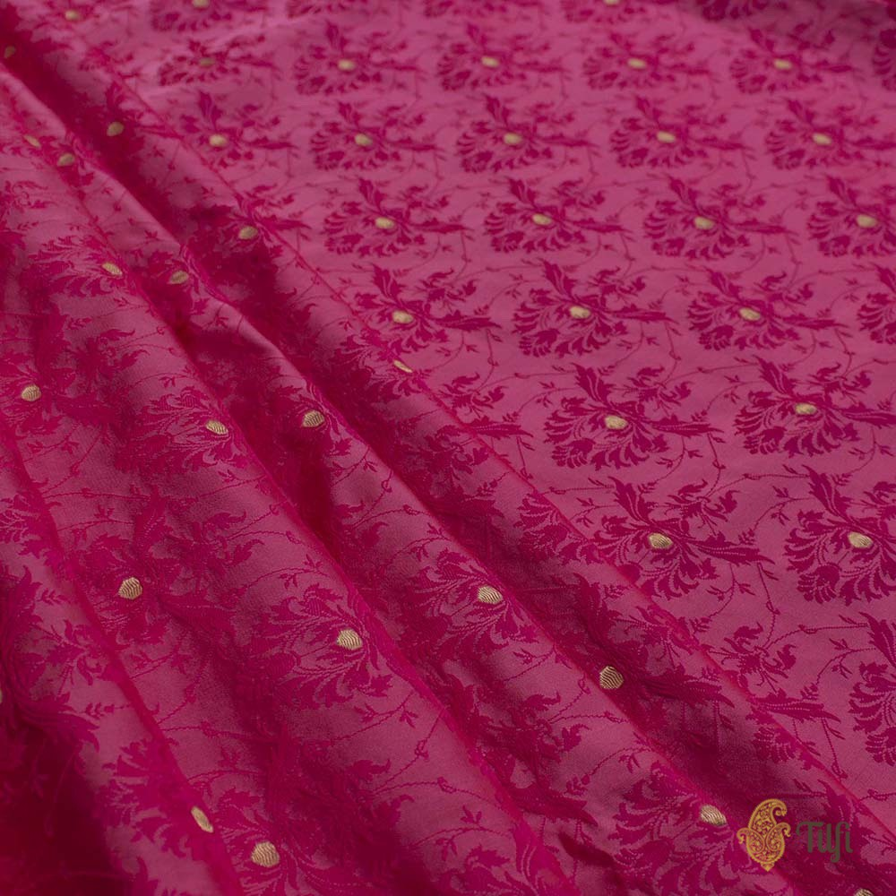 Gulabi Pink Pure Soft Satin Silk Banarasi Handloom Fabric
