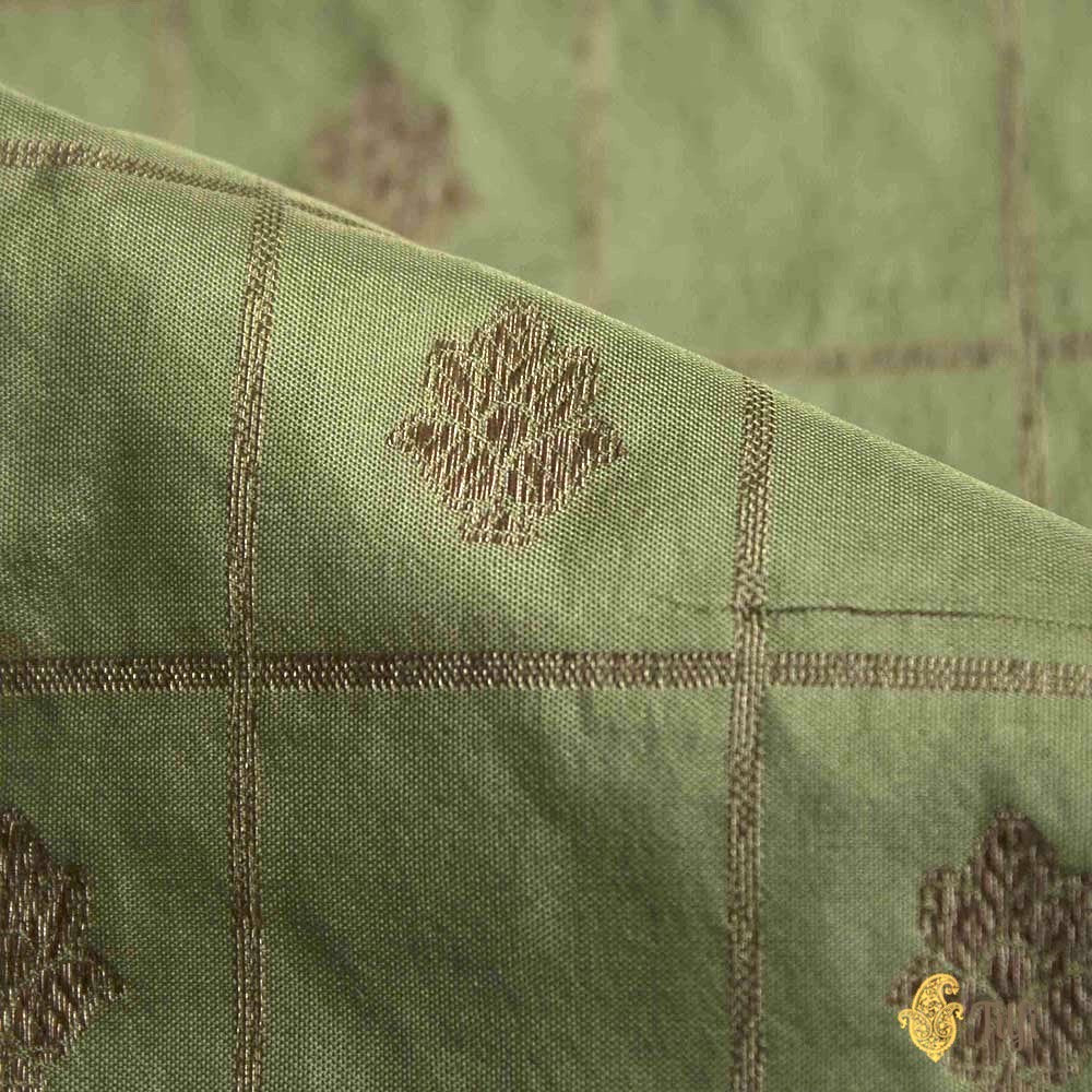 Sage Green Pure Katan Silk Banarasi Handloom Fabric