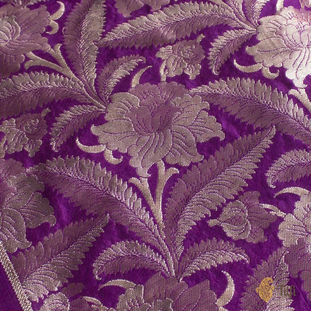 Purple Pure Katan Silk Banarasi Handloom Fabric