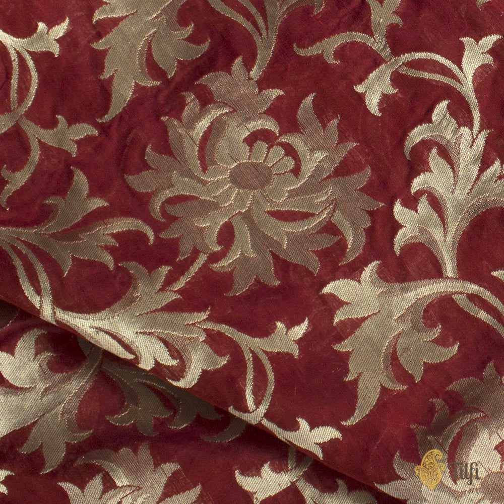 Maroon Pure Silk Georgette Banarasi Handloom Fabric