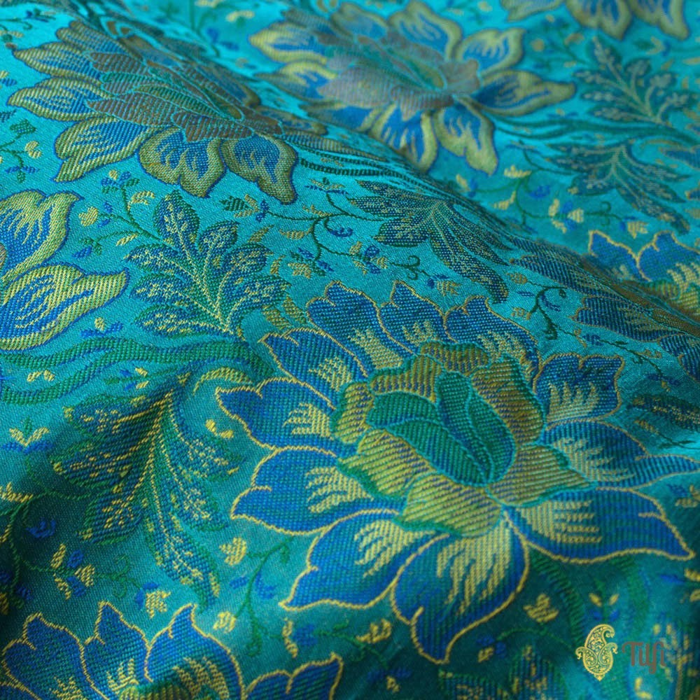 Aqua Blue Pure Soft Satin Silk Banarasi Handloom Fabric