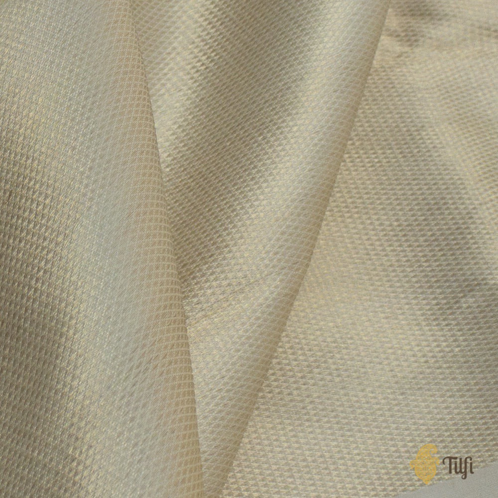 Light Gold Pure Katan Silk Banarasi Zari Vasket Handloom Fabric