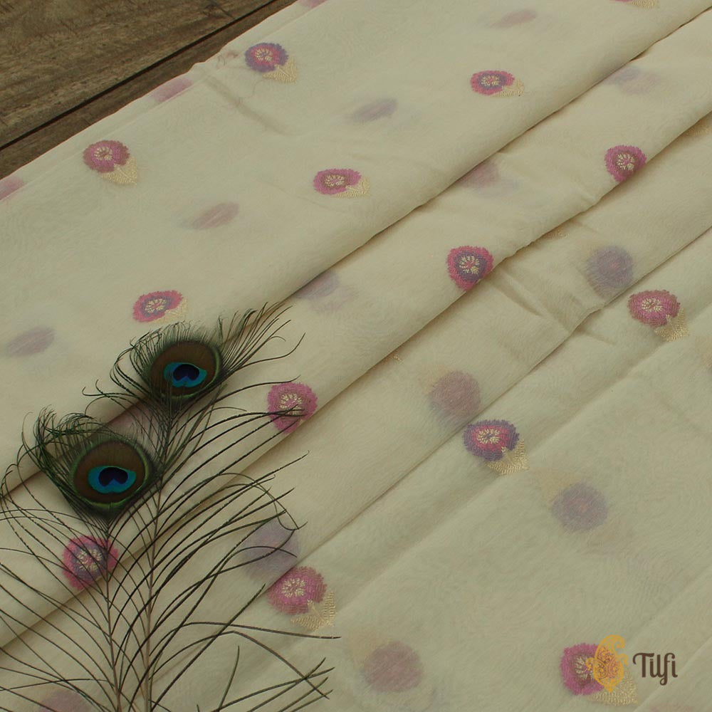 Off-White Pure Kora Silk by Cotton Banarasi Handloom Fabric
