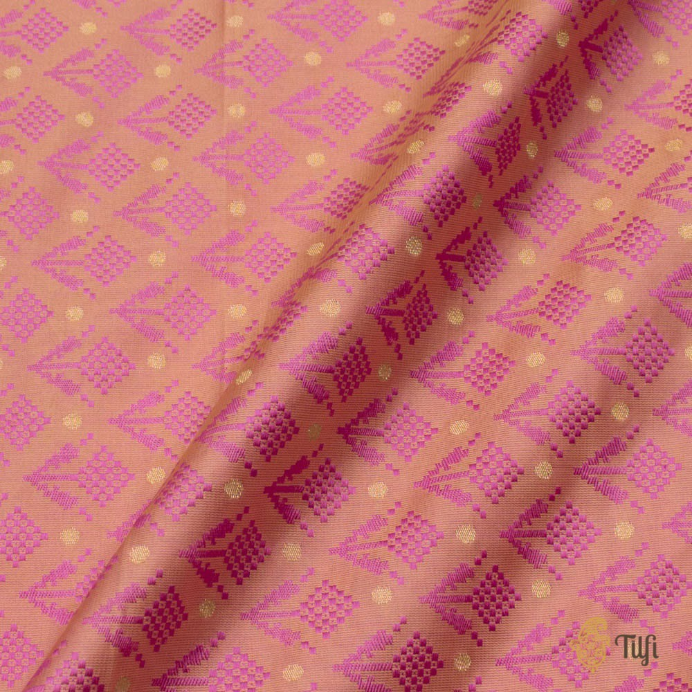 Light Yellow-Pink Pure Soft Satin Silk Banarasi Handloom Fabric