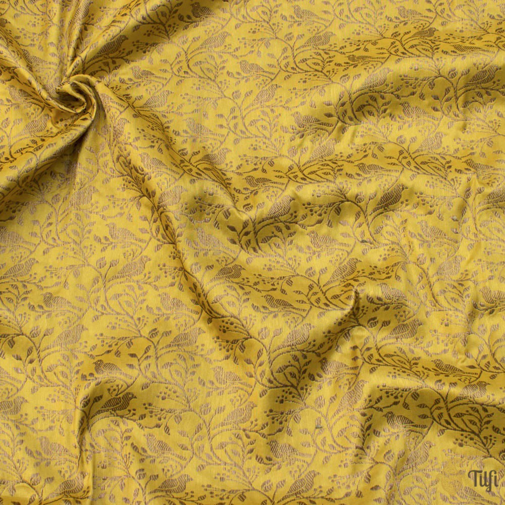 Yellow Pure Katan Silk Banarasi Handloom Fabric