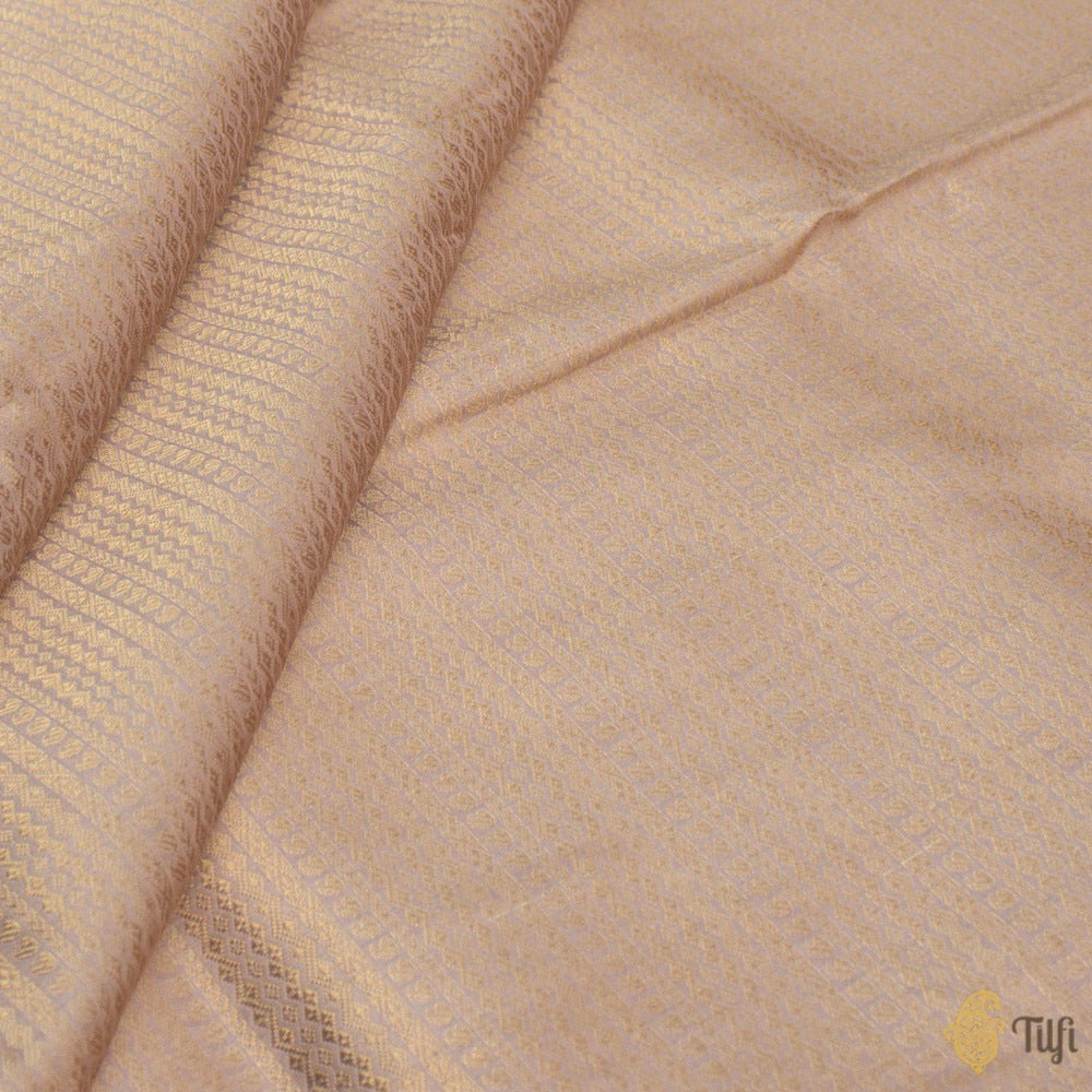 Light Old Rose Pink Pure Katan Silk Banarasi Handloom Fabric