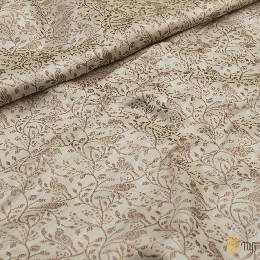 Off-White Pure Katan Silk Banarasi Handloom Fabric