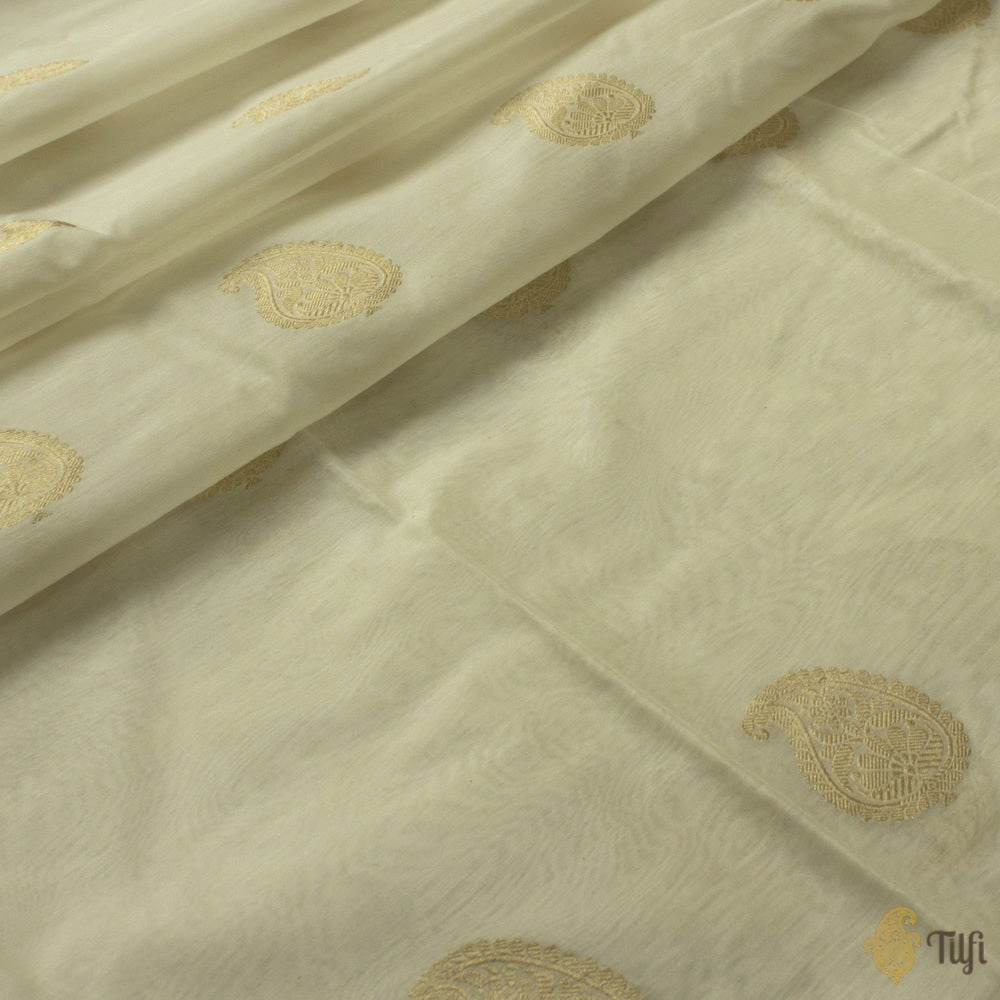 White Pure Kora Silk by Cotton Banarasi Handloom Fabric