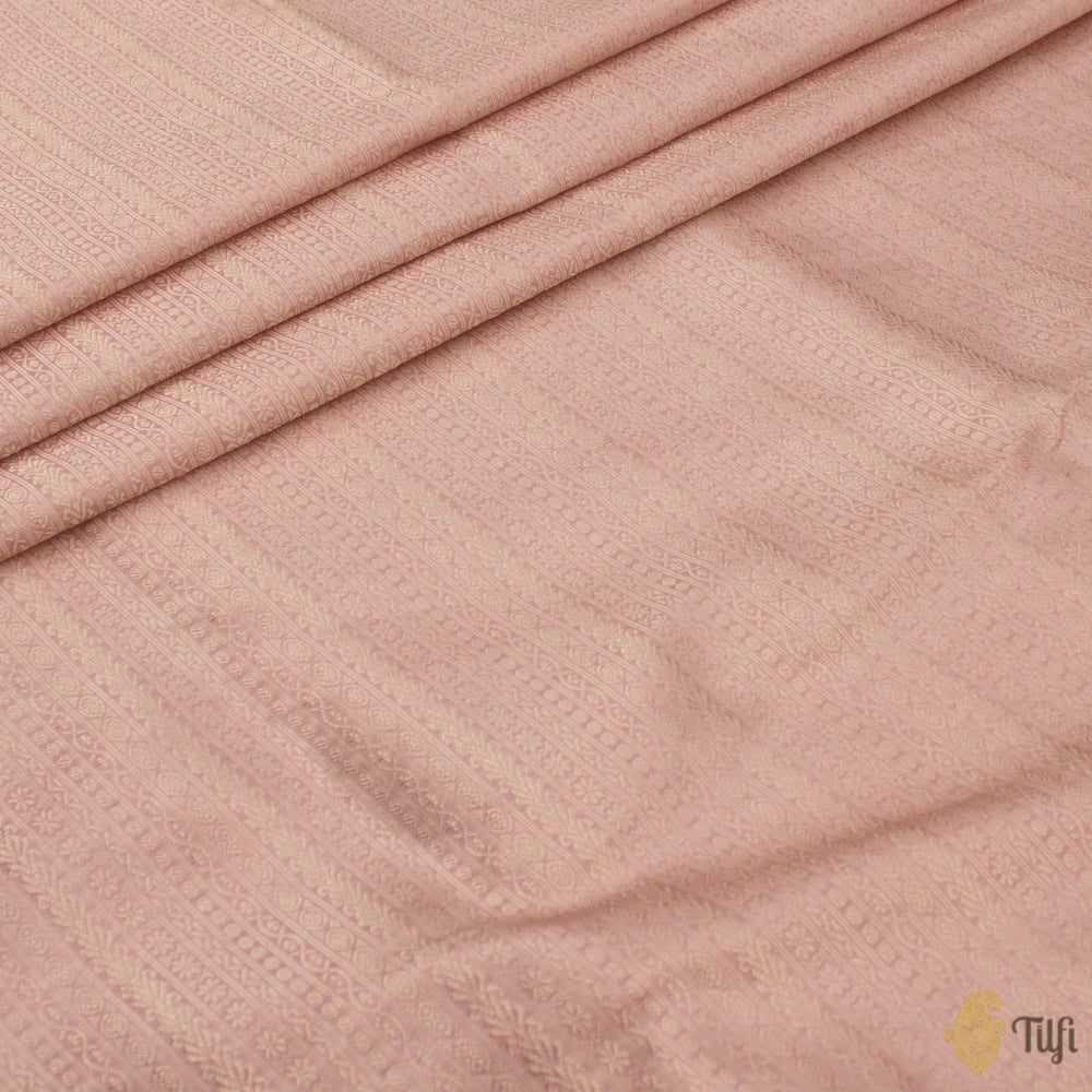 Light Peach Pure Katan Silk Banarasi Handloom Fabric