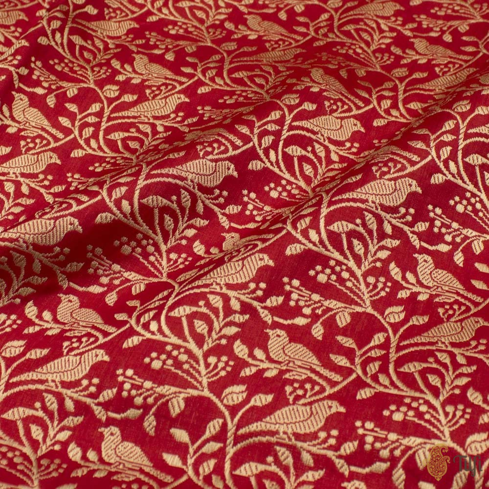 Red Pure Katan Silk Banarasi Handloom Fabric