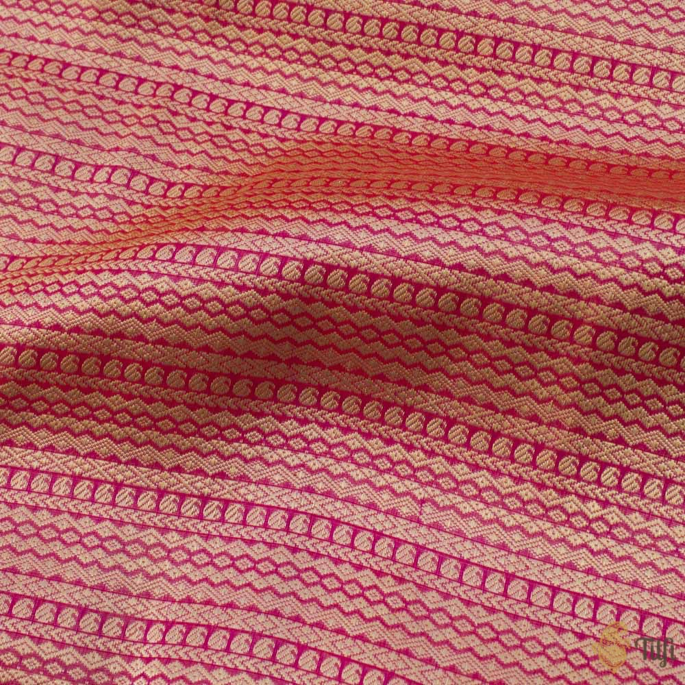 Orange-Pink Pure Katan Silk Banarasi Handloom Fabric