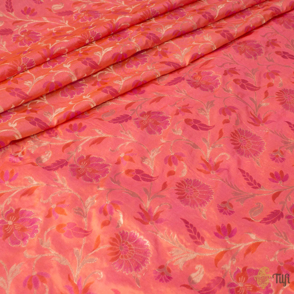 Orange-Gulabi Pink Pure Katan Silk Banarasi Handloom Fabric
