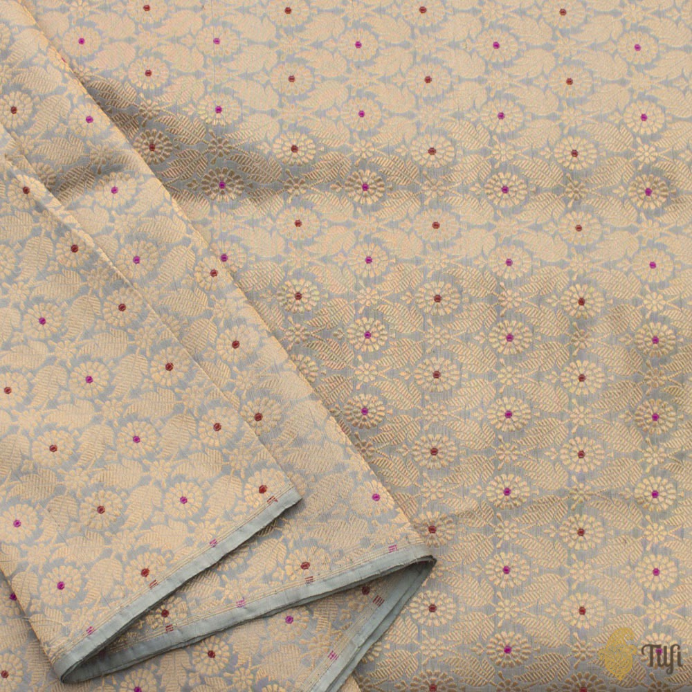 Grey Pure Katan Silk Banarasi Handloom Fabric