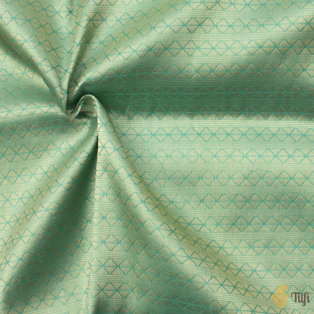 Sea Green Pure Katan Silk Banarasi Handloom Fabric
