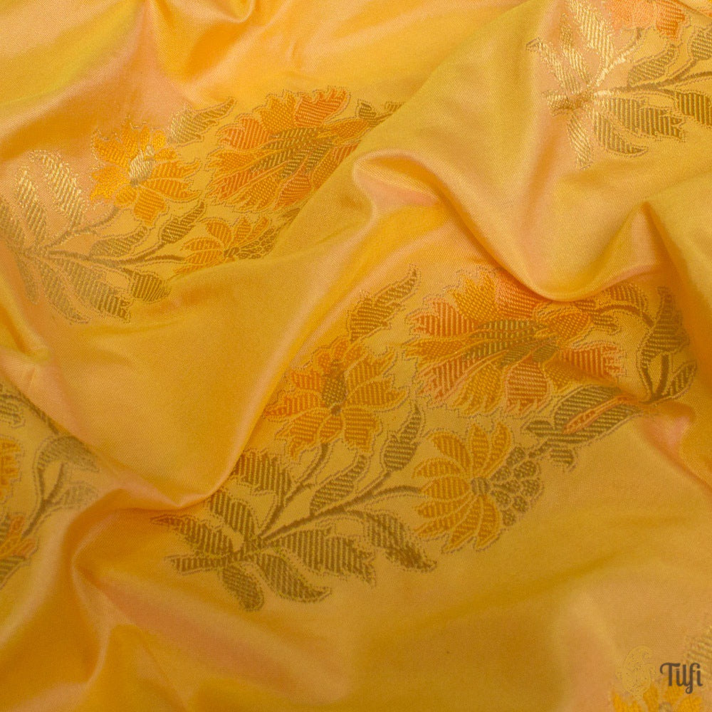 Peach-Yellow Pure Katan Silk Banarasi Handloom Fabric