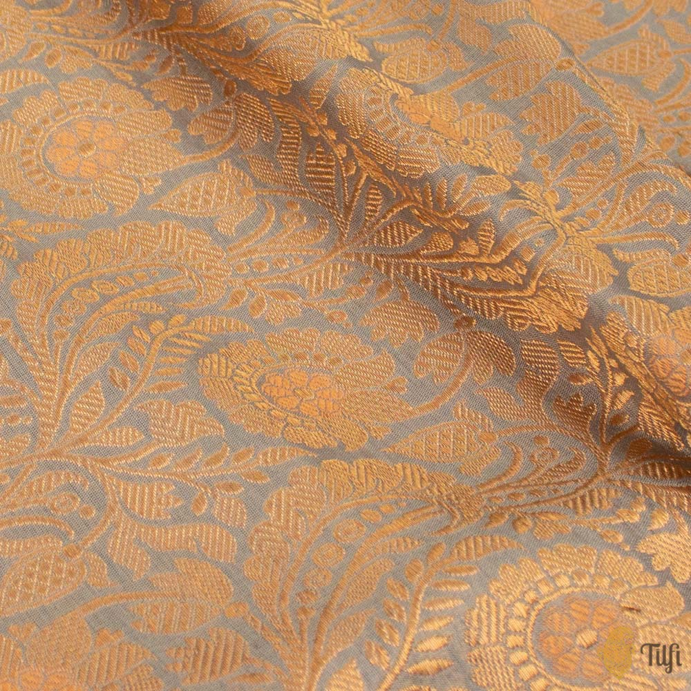 Blueish-Grey Pure Katan Silk Banarasi Handloom Fabric