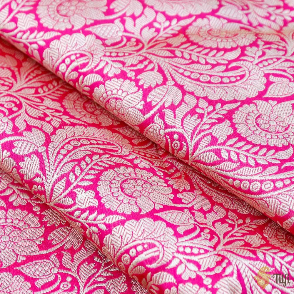 Red-Rani Pink Pure Katan Silk Banarasi Handloom Fabric