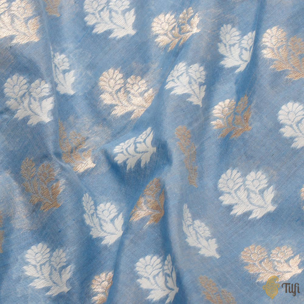 Light Blue Pure Kora Cotton Banarasi Handloom Fabric