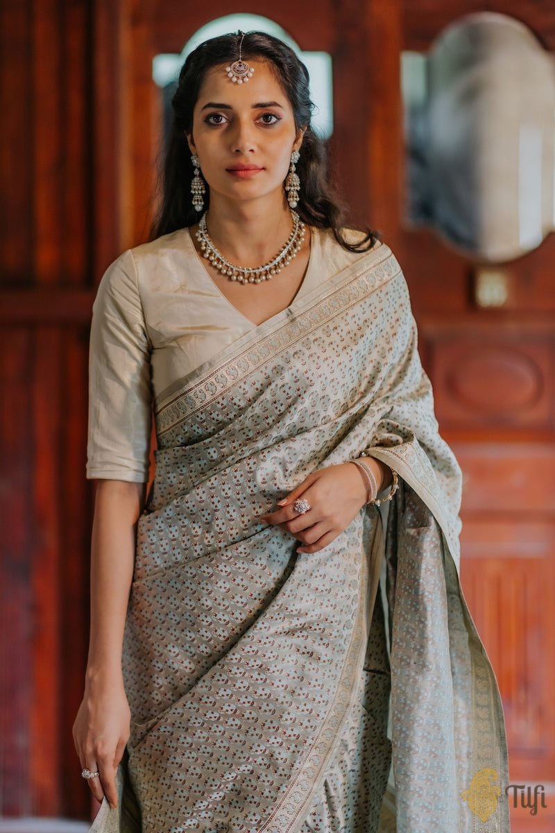 Silver Grey Pure Soft Satin Silk Banarasi Handloom Saree