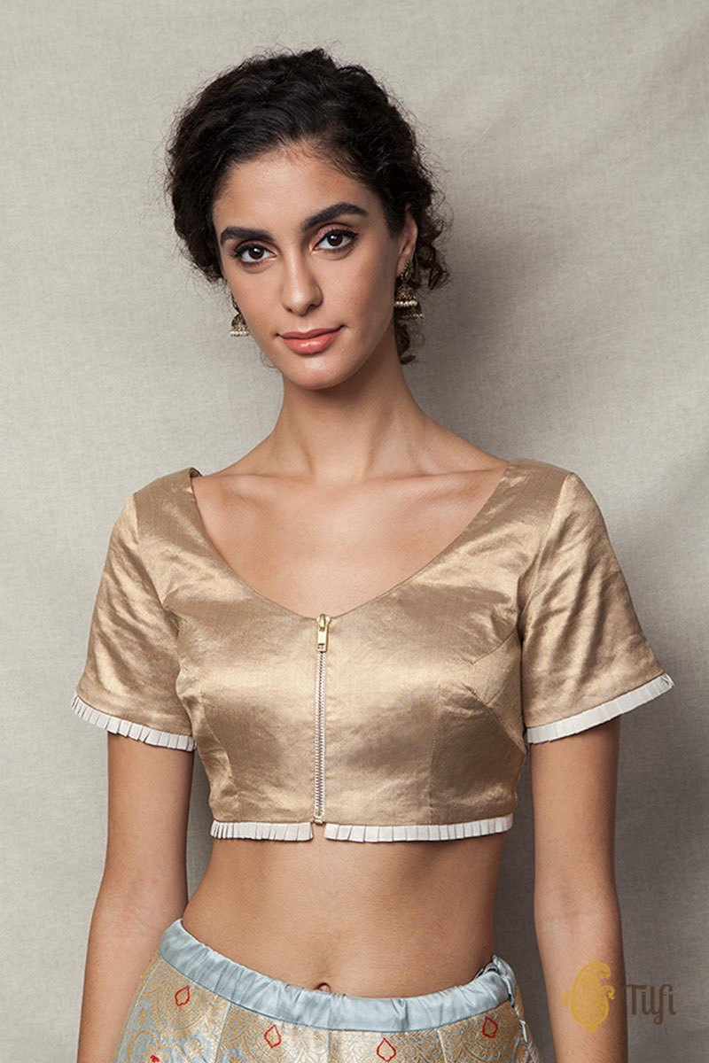 Gold Crepe Tissue Zip Blouse