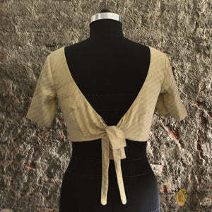 Beige Crepe Brocade Tie-up Blouse