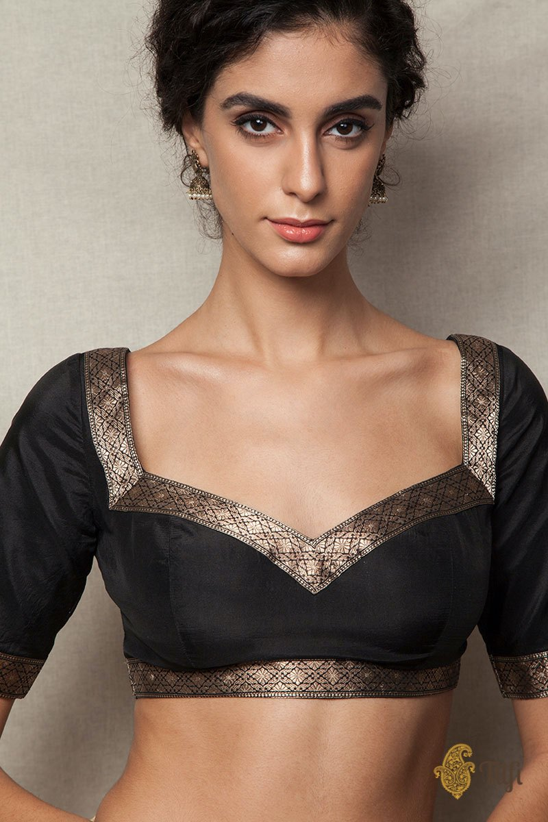 Black Banarasi Borders Blouse