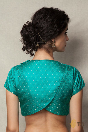 Green Tanchoi Overlapped Blouse