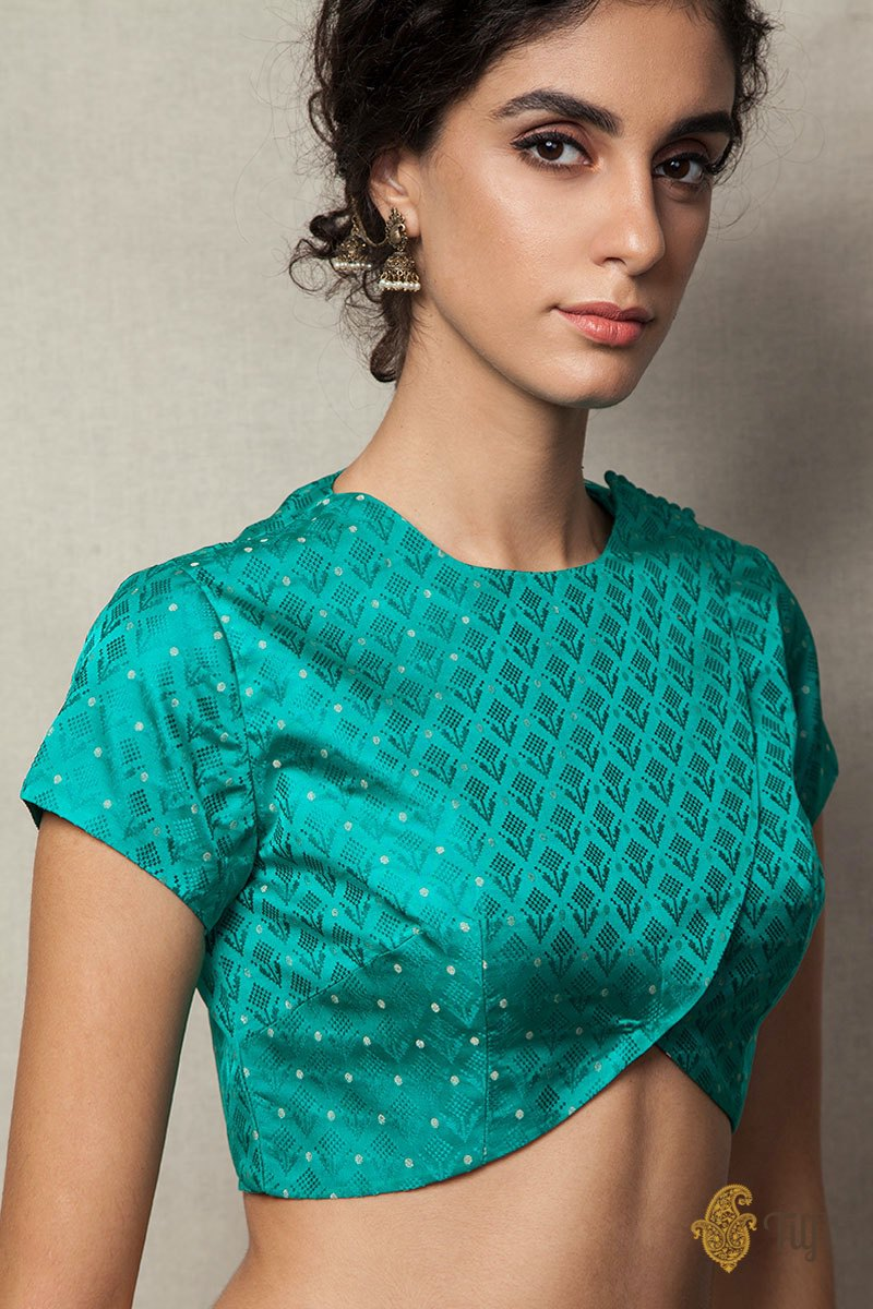 Green Handwoven Tanchoi Overlapped Blouse