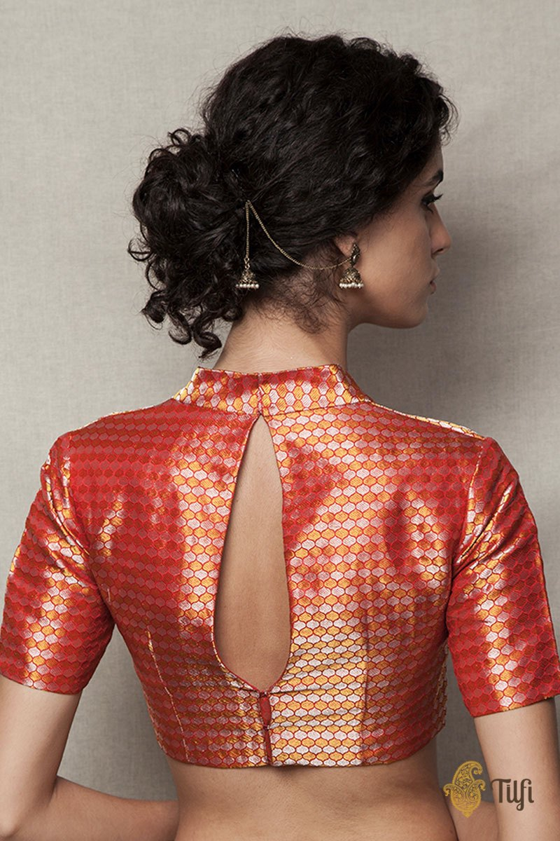 Red Handwoven Brocade Blouse