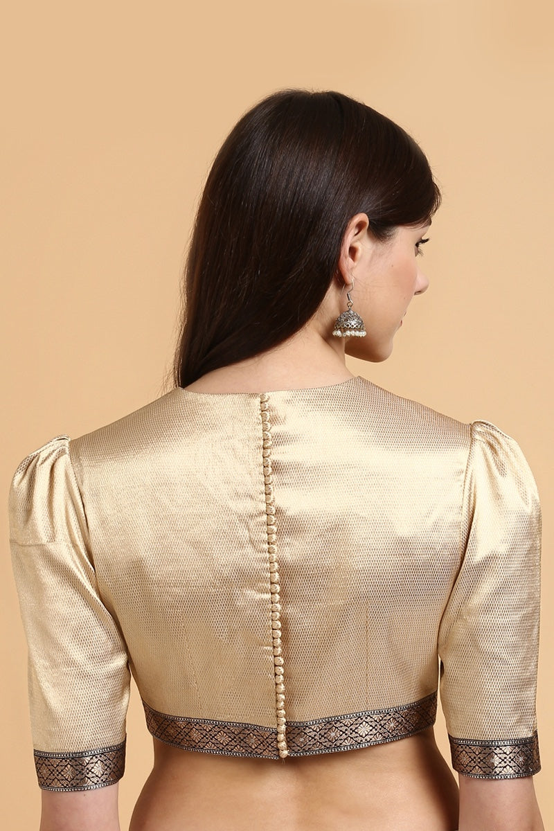 Gold Handwoven Brocade Banarasi Borders Blouse